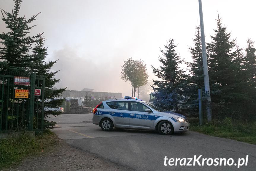 Pożar na terenie sortowni śmieci w Wolicy