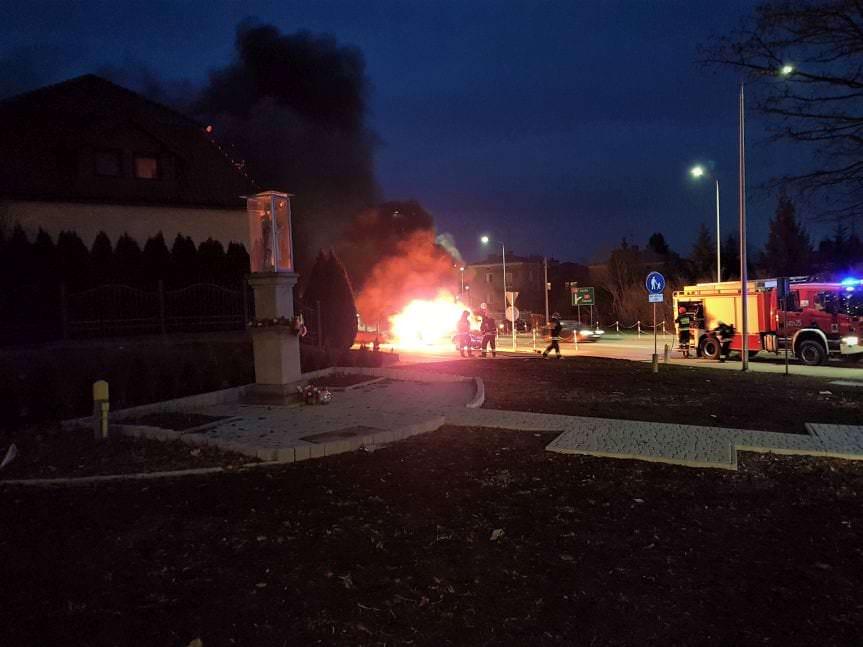 W Krośnie spłonął samochód osobowy
